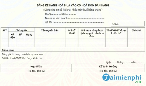 bang ke hang hoa mua vao co hoa don ban hang