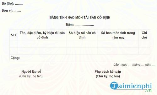 bang tinh hao mon tai san co dinh
