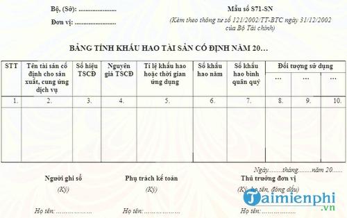 bang tinh khau hao tai san co dinh nam