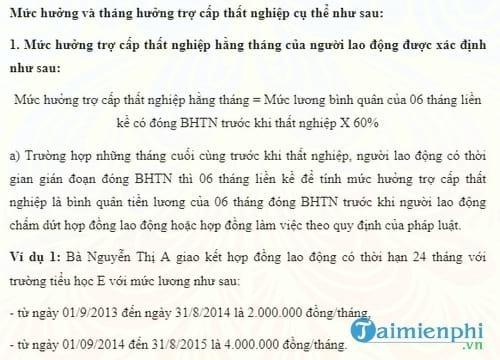 cach tinh muc huong tro cap that nghiep nam 2017