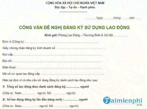 cong van de nghi dang ky su dung lao dong