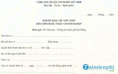 don de nghi cap giay phep bieu dien nghe thuat chuyen nghiep