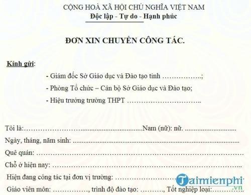 don de nghi chuyen cong tac