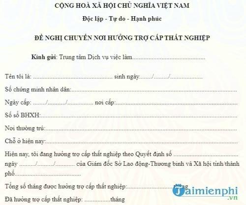 don de nghi chuyen noi huong tro cap that nghiep