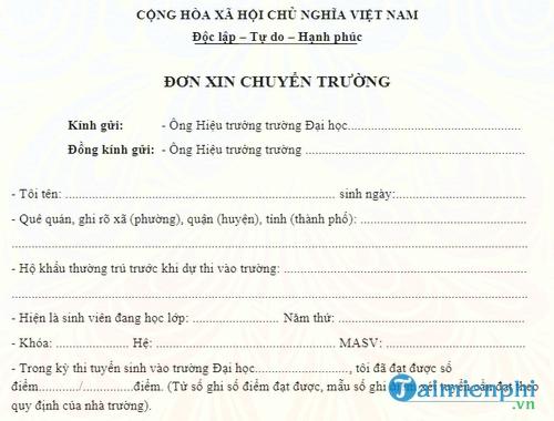 don xin chuyen truong dai hoc