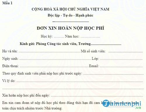 don xin hoan nop hoc phi