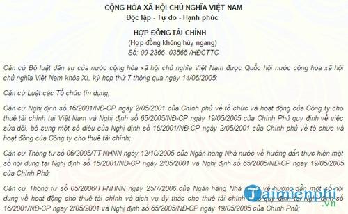 hop dong tai chinh