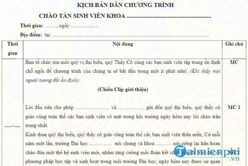 kich ban dan chuong trinh chao don tan sinh vien