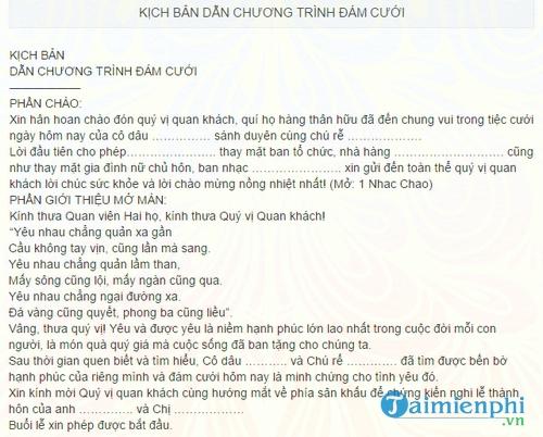 kich ban dan chuong trinh dam cuoi