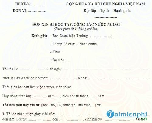 mau don xin di hoc tap cong tac nuoc ngoai