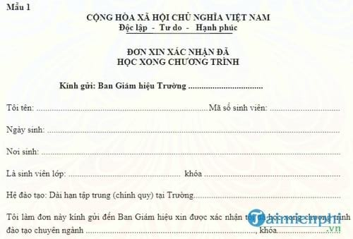 mau don xin xac nhan da hoc xong chuong trinh