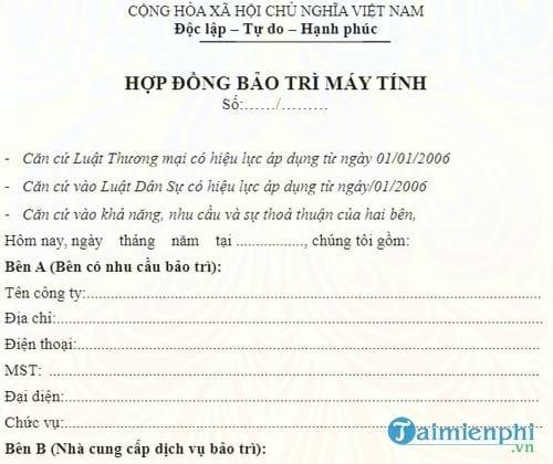 mau hop dong bao tri may moc