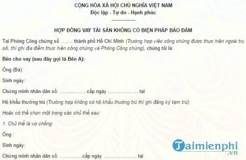 mau hop dong chi vay khong co bien phap dam bao
