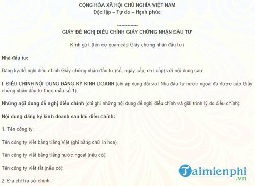 mau van ban de nghi dieu chinh giay chung nhan dau tu