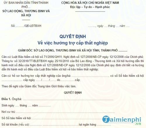 quyet dinh ve viec huong tro cap that nghiep