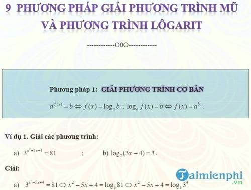 9 phuong phap giai phuong trinh mu va phuong trinh logarit