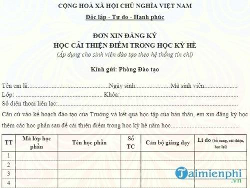 don xin dang ky hoc cai thien diem