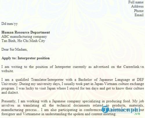 don xin viec bang tieng anh interpreter