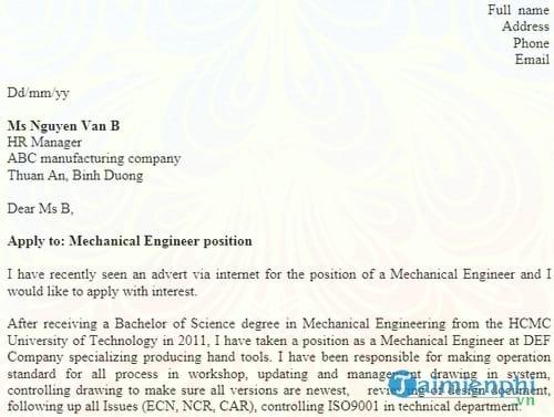 don xin viec bang tieng anh mechanical engineer