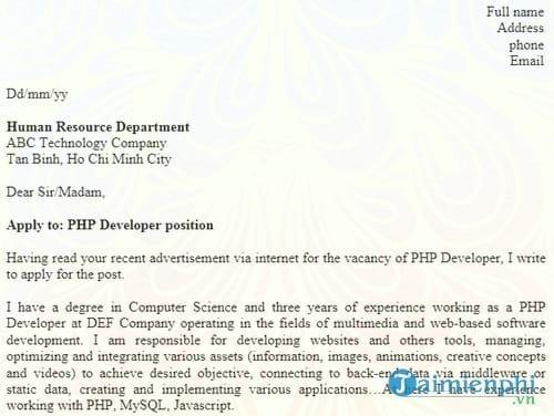 don xin viec bang tieng anh php developer
