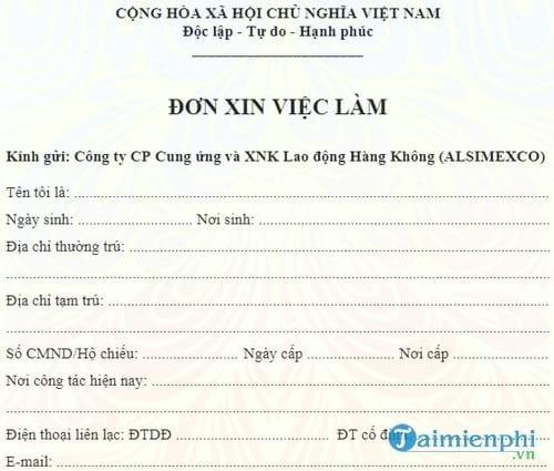 don xin viec lam tiep vien hang khong vietnam airlines