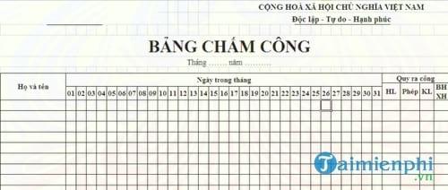 bang cham cong nhan vien