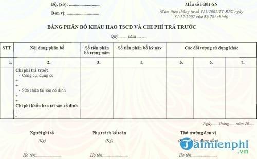bang phan bo khau hao tai san co dinh va chi phi tra truoc