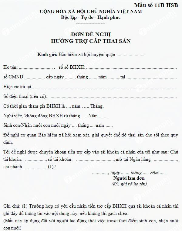 mau don de nghi huong tro cap thai san mau so 11b hsb