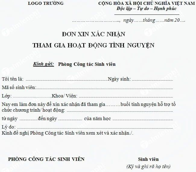don xin xac nhan tham gia hoat dong tinh nguyen