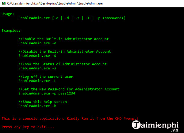 enable admin