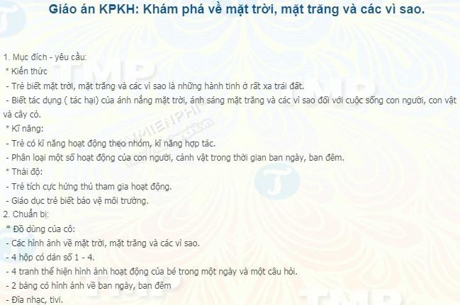 giao an kpkh kham pha ve mat troi mat trang va cac vi sao