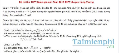 Đề thi thử THPT Quốc gia THPT chuyên Hùng Vương môn Toán