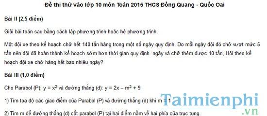 Đề thi thử vào lớp 10 môn Toán 2015 THCS Đồng Quang