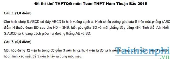Đề thi thử THPT Quốc gia môn Toán 2015 trường THPT Hàm Thuận Bắc