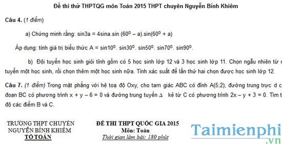 Đề thi thử THPTQG môn Toán 2015 trường THPT chuyên Nguyễn Bỉnh Khiêm