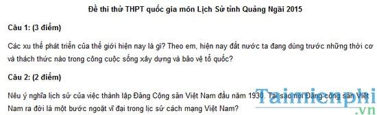 Đề thi thử môn Lịch Sử THPT quốc gia tỉnh Quảng Ngãi 2015