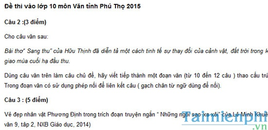 Đề thi vào lớp 10 môn Văn tỉnh Phú Thọ 2015