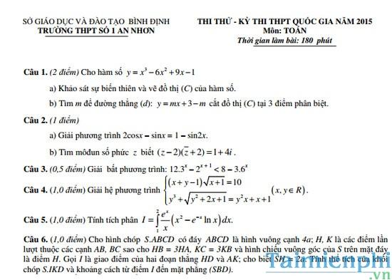 Đề thi thử THPTQG môn Toán trường THPT số 1 An Nhơn năm 2015