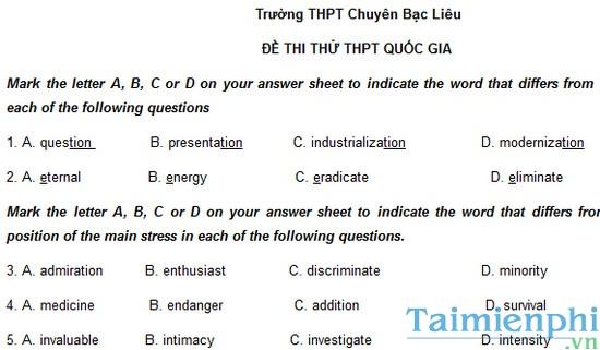 Đề thi thử THPTQG môn Tiếng Anh trường THPT chuyên Bạc Liêu năm 2015