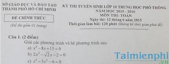 Đề thi vào lớp 10 môn Toán TPHCM năm 2015
