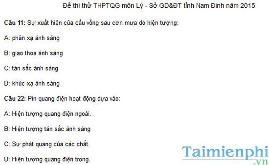 Đề thi thử THPTQG môn Lý của Sở GD và ĐT tỉnh Nam Định năm 2015