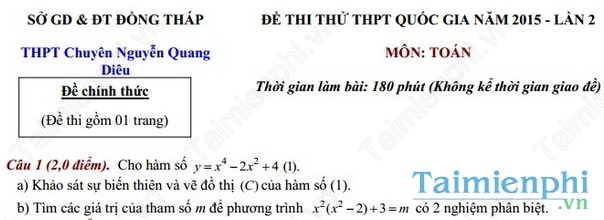 Đề thi thử THPT Quốc Gia môn Toán chuyên Nguyễn Quang Diêu