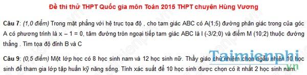 Đề thi thử THPT Quốc Gia môn Toán chuyên Hùng Vương