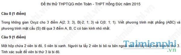 Đề thi thử THPT Quốc Gia môn Toán trường Hồng Đức