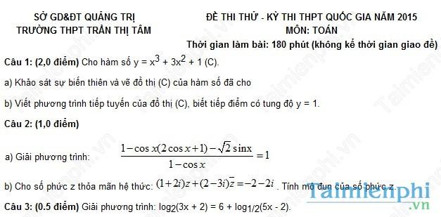 Đề thi thử THPT Quốc Gia môn Toán trường Trần Thị Tâm