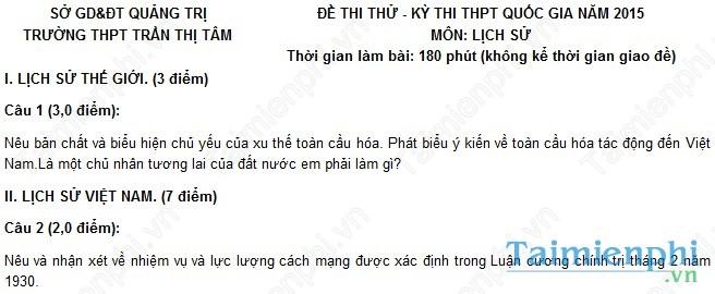 Đề thi thử THPT Quốc Gia môn Sử trường Trần Thị Tâm