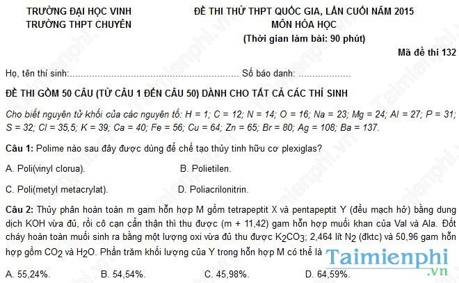 Đề thi thử THPT Quốc Gia môn Hóa trường chuyên Đại học Vinh