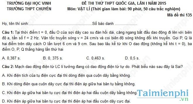 Đề thi thử THPT Quốc Gia môn Lý trường chuyên Đại học Vinh