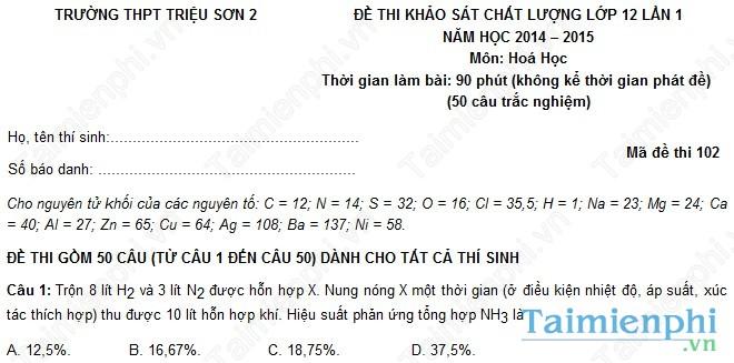 Đề thi thử THPT Quốc Gia môn Hóa trường Triệu Sơn 2