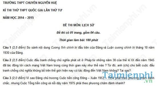 Đề thi thử THPT Quốc Gia môn Sử trường chuyên Nguyễn Huệ
